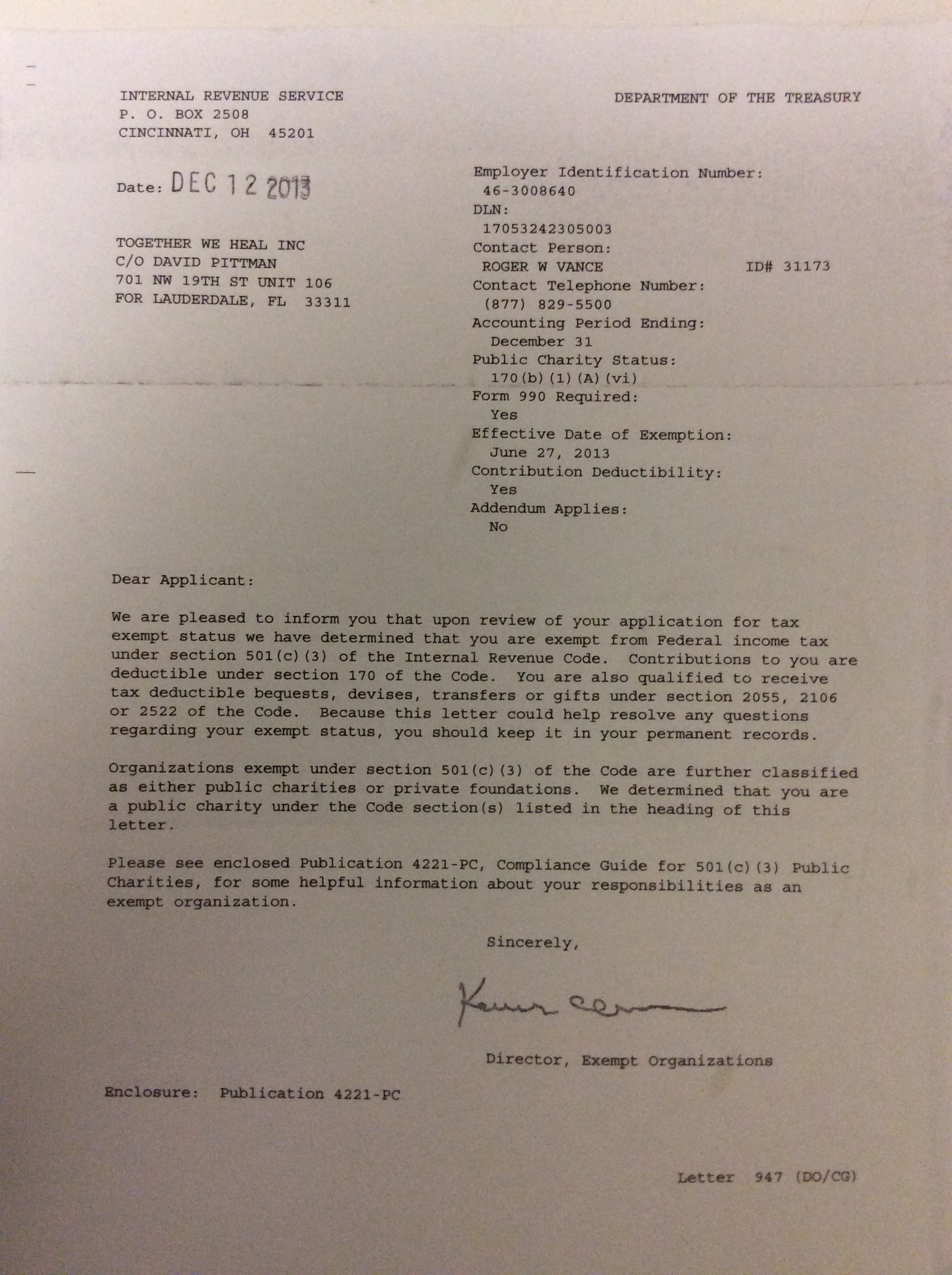 Letter Of Irs Determination Together We Heal
