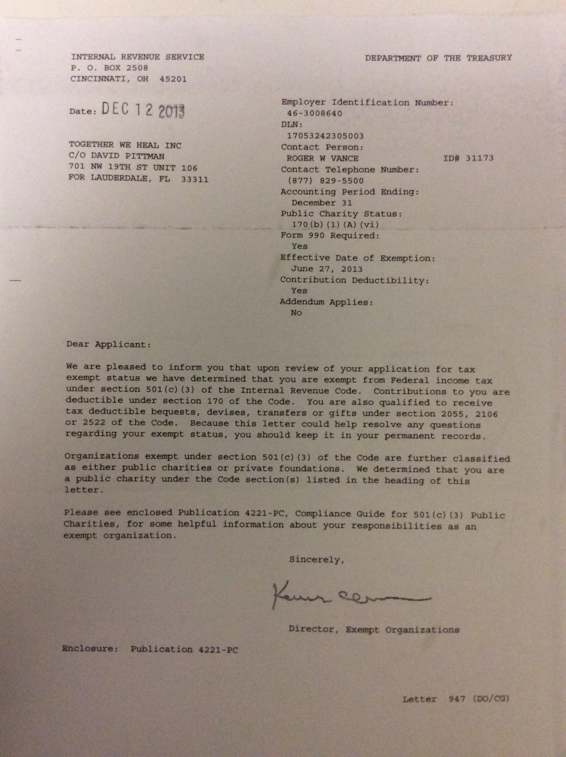 Letter of IRS Determination